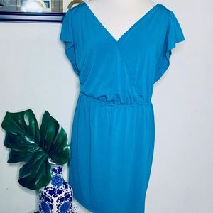Ava & Viv Teal Ruffle Sleeve Wrap Around Dress